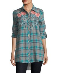 Tolani Neicy Long Sleeve Resort Plaid Button Front Shirt Plus Size Teal