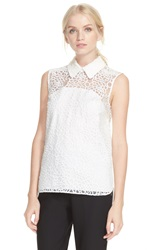 Kate Spade New York Sleeveless Floral Organza Top Cream