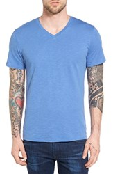 The Rail Men's Slub Cotton V Neck T Shirt Blue Yonder Slub