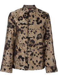 For Restless Sleepers Leopard Print Quilted Suit Metallic