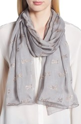 Ted Baker London Jacquard Bow Silk Scarf Mid Grey