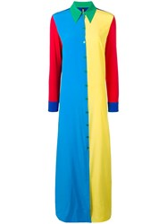 Adam Selman Colour Block Shirt Dress Blue