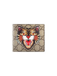 Gucci Cat Print Gg Supreme Wallet Men Leather Canvas One Size Nude Neutrals