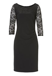 Vera Mont Lace Panelled Dress Black