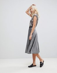 B.Young Silver Pleated Skirt