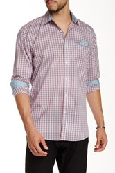 Stockholm Sven Tri Color Check Long Sleeve Woven Shirt Red