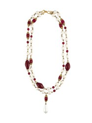 Chanel Vintage Faux Pearl Sautoir Drop Necklace Red