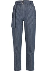 Marc By Marc Jacobs Indigo Pinstriped Cotton And Linen Blend Chambray Straight Leg Pants Mid Denim