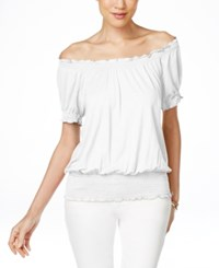 Inc International Concepts Smocked Waist Off Shoulder Peasant Blouse Only At Macy's Bright White