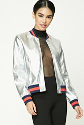 Forever 21 Metallic Faux Leather Bomber Silver