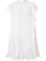 Burberry Scalloped Lace And Polka Dot Tulle Dress White