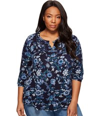 Lucky Brand Plus Size Floral Vines Top Blue Multi Women's Long Sleeve Button Up