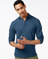 Tommy Hilfiger Men's Big And Tall Long Sleeve Polo Mg Blue Heather