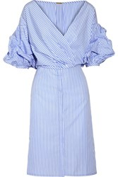 Johanna Ortiz Tuxedo Wrap Effect Striped Cotton Poplin Shirt Dress Light Blue