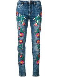 Philipp Plein Floral Embroidery Skinny Jeans Blue