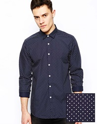 Asos Smart Shirt In Long Sleeve With Polka Dot Print Navy