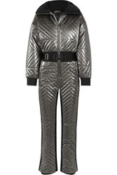 Fusalp Rebecca Metallic Belted Quilted Padded Ski Suit Silver