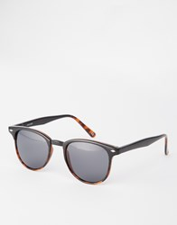 Asos Retro Sunglasses In Black And Tortoiseshell Black