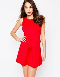 Ax Paris Pleated Skater Dress With Pockets Red
