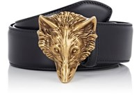 Gucci Men's Wolf Buckle Leather Belt Black