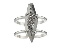 Kendra Scott Boyd Adjustable Ring Rhodium Platinum Drusy Ring Silver