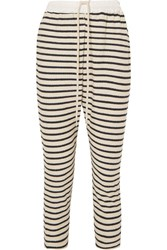 Bassike Striped Cotton Terry Track Pants Navy