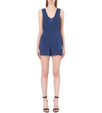 Sandro Diamond Pattern Brocade Playsuit Blue