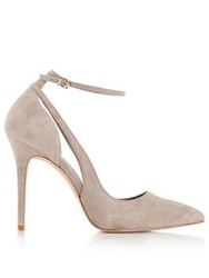 Reiss Marla Suede Ankle Strap Court Shoes Nude