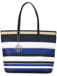 Armani Jeans Striped Shopper Tote Blue