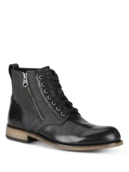 Andrew Marc New York Forest Leather And Canvas Boots Black Grey