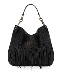 Bottega Veneta Large Loop Fringe Intrecciato Leather Hobo Bag Black