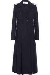 Valentino Double Breasted Pleated Wool Coat Navy