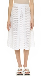 David Lerner Lace Midi Skirt White