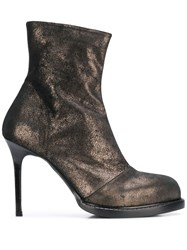 Ann Demeulemeester Burnished Metallic Ankle Boots 60