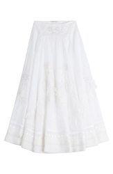 Alberta Ferretti Embroidered Cotton Maxi Skirt