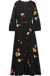 Madewell Jane Wrap Effect Floral Print Georgette Maxi Dress Black