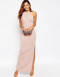 Asos One Shoulder Maxi Dress With Exposed Zip Pink