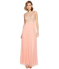 Adrianna Papell Illusion Beaded Bodice Dress W Tuille Skirt Coral Reef Nude Women's Dress Pink