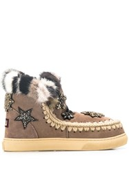 Mou Star Embellished Snow Boots Grey