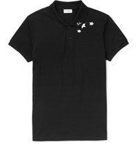 Saint Laurent Slim Fit Printed Cotton Pique Polo Shirt Black