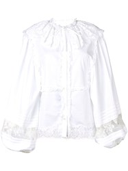 Dolce And Gabbana Long Sleeved Lace Blouse White
