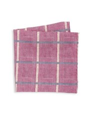 Saks Fifth Avenue Collection Houndstooth Plaid Pocket Square Pink Blue