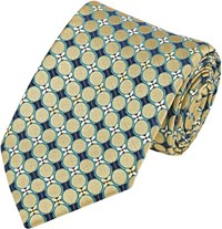 Fairfax Circle And Floral Jacquard Necktie Gold
