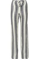 Tory Burch Awning Tie Front Striped Linen Wide Leg Pants Navy