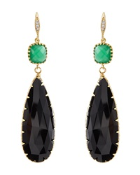 Indulgems Onyx And Green Glass Station Teardrop Earrings