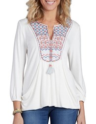 Democracy Embroidered Yoke Drape Front Top Natural