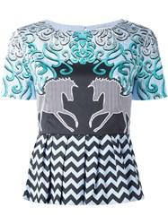 Mary Katrantzou Showmanship Print Peplum Top Blue