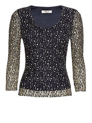 Precis Petite Navy And Yellow Lace Top Multi Coloured