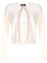 Paule Ka Cropped Fringed Cardigan White