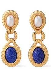 Ben Amun Woman 24 Karat Gold Plated Faux Pearl And Stone Clip Earrings Gold